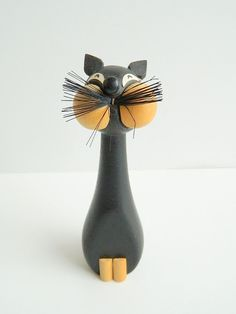 Laurids Lonbourg Black Wooden Cat from Denmark