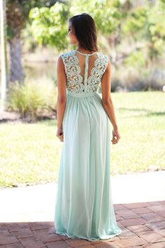 mint crochet maxi dress with tulle back