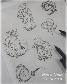 """32 Likes, 8 Comments - Mônica Nunes I Tattoo Artist (@monicanunestattoo) on Instagram: """"Mês das mães entrando... bóra criar modelinhos para as mamães que querem homenagear seus pequenos…"""""""