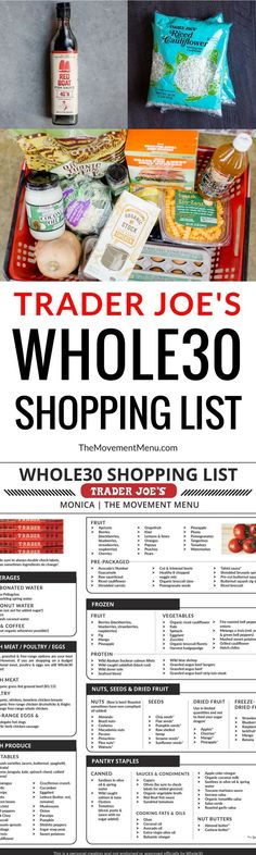 Best Trader Joe's Whole30 Shopping List. Complete with tips and tricks on how to prep for and succeed during your Whole30. Eat like a whole30 QUEEN! Free shopping list & shopping guide printout! Whole30 shopping list. Whole30 Trader Joe's shopping list. Whole30 shopping list week one. Whole30 meal plan that's quick and healthy! Whole30 recipes just for you. Whole30 meal planning. Whole30 meal prep. Healthy paleo meals. Healthy Whole30 recipes. Easy Whole30 recipes. Best paleo shopping guide.