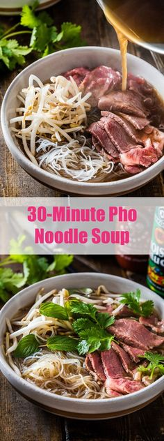 Easy Vietnamese pho noodle soup - Want to get a hearty bowl of Vietnamese pho noodle soup on the table within 30 minutes. I would sub the beef stock with pho stock. Soup Recipes, Cooking Recipes, Healthy Recipes, Pho Soup Recipe Easy, Paleo Soup, Recipes With Pho Noodles, Recipies, Thai Beef Noodle Soup Recipe, Asian Food Recipes