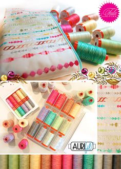 Tula Pink X Aurifil Threads. Check out that cute little clutch - a great idea for trying out decorative stitches on your machine and playing with quilting thread!
