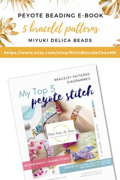 Discover my top 5 peyote bracelets patterns is one e-book using Miyuki delica beads + a bonus tutorial to create the perfect finishes. Includes: beads references, bracelet bead chart and word chart