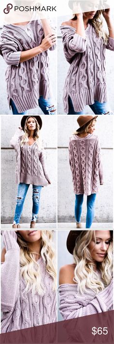 """Mauve Cable Knit Sweater Ultra comfortable mauve colored oversized cable knit sweater. Dolman fit, v neckline, 100% cotton, the S/M measures 34"""" length, M/L measures 35-36"""" length. Model is 5'7 wearing a S/M. ✨SHIPS IN ABOUT 1 WEEK✨  ▫️Add to Bundle"""" to add more items in my closet or """"Buy"""" to checkout here with your size.  ↓Follow me on Instagram ↓         @ love.jen.marie Jennifer's Chic Boutique Sweaters V-Necks"""