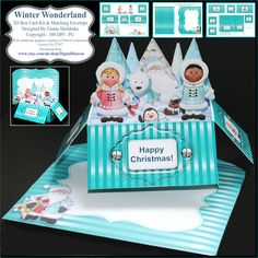 Winter Wonderland - 3D Pop Up Box Card Kit, Assorted Greetings & Matching Envelope PU 300 DPI by DigitalHeaven on Etsy