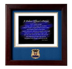 POLICE Medallion Solid Wood Frame Police Officer's Prayer Stamped and Numbered Print