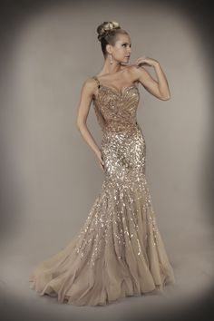 Mink Sequin & Tulle One Shoulder Draping Mermaid Couture Gown - Unique Vintage - Cocktail, Pinup, Holiday & Prom Dresses.