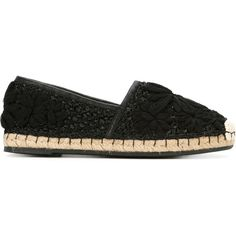 Ermanno Scervino Floral Detail Woven Espadrilles (610 CAD) ❤ liked on Polyvore featuring shoes, sandals, black, floral print sandals, black espadrilles, leather sandals, black leather sandals and woven leather shoes