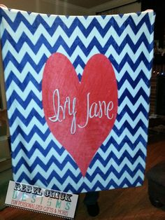 Personalized Chevron Heart Blanket by RebelChickBoutique on Etsy, $55.00
