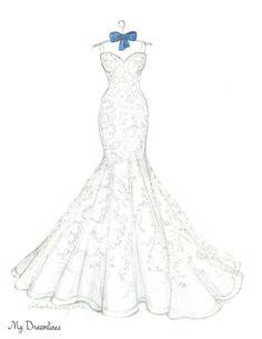 One Year Anniversary Gift - Wedding Dress Sketch