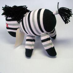 Sock animal sock zebra sock monkey soft plush toy by lostsockshome, $23.00