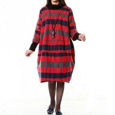 Women Wool Dress Loose Dress Autumn Dress 3/4 Sleeve Dress Large Size Dress