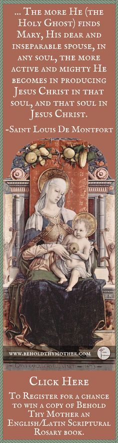 Beautiful Image by Carlo Crivelli. Register for a chance to win a copy of Behold Thy Mother, an English/Latin Scriptural Rosary book.