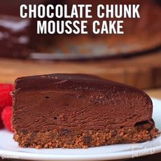 Video only with ingedients. Chocolate Chunk Mousse Cake Recipe // Snag The Tastemade Cookbook Here Donut Recipes, Cake Recipes, Dessert Recipes, Desserts, Chocolate Mousse Cake, Chocolate Recipes, Chocolate Glaze, Chocolate Lovers, Twisted Recipes