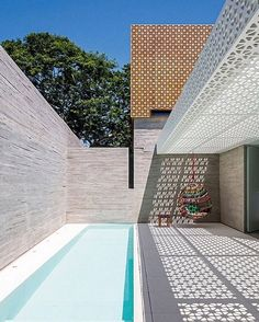 Within the bustling metropolis of Sao Paulo sits a tranquil spa by figueroa.arq that offers a true escape from daily stresses and a harmonizing balance absent in everyday environments. Light interplays with shadow and space to accentuate the beauty of a courtyard pool area. #architecture #interiors #design #interiordesign #spa #brazil  ... - Interior Design Ideas, Interior Decor and Designs, Home Design Inspiration, Room Design Ideas, Interior Decorating, Furniture And Accessories