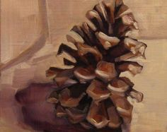 Pine Cone Refined - Small Oil Painting - Painting a Day - Woodland Still Life