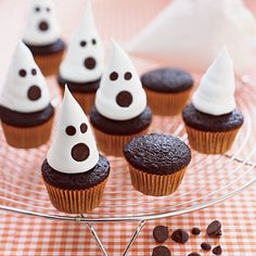 Mini Ghost Cupcakes  At just 15 cents per serving, these mini cupcakes are easy to prepare and to work into your budget. Bake 3 dozen Mini Chocolate Cupcakes, then pipe whipped topping into a ghost shape and use chocolate chips for the eyes and nose.