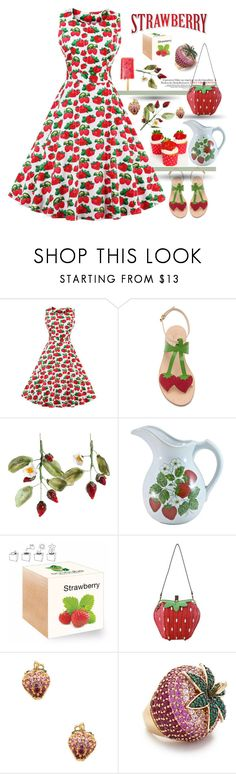 """""""Strawberries and Cream"""" by zouus ❤ liked on Polyvore featuring WithChic, Cornetti, nOir, Noir Jewelry and polyvoreset"""