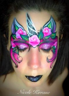 Disposable Face Mask with Earloop, Breathable and Comfortable for Personal Care Protection Masks) Face Painting Unicorn, Unicorn Face, Body Painting, Painting Station, Hobbies And Interests, Animal Faces, Face And Body, Body Art, Halloween Face Makeup