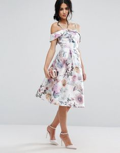 58f75493e80 Chi Chi London Off Shoulder Floral Midi Dress In Sateen at asos.com