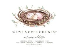 Glittery Nest - Moving Announcement #announcements #printable #diy #template #Moving #newaddress #newhome Moving Announcements, Housewarming Party, Rose Buds, House Warming, Nest, Create Yourself, Invitations, Templates, Printable
