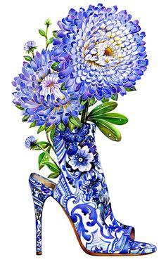 Fashion Illustration Diamond Painting Purple Roses and Shoe - Illustration Mode, Fashion Illustration Sketches, Fashion Sketches, Fashion Drawings, Roberto Cavalli, Fashion Art, Fashion Beauty, Fashion Design, Fashion Shoes