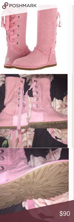 NEW Pink Lace Up Uggs New size 6 lace up pink uggs UGG Shoes Lace Up Boots