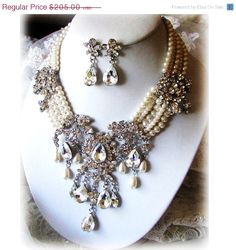 Wedding jewelry, Bridal necklace earrings, vintage inspired Victorian pearl Swarovski crystal bib, bridal jewelry set