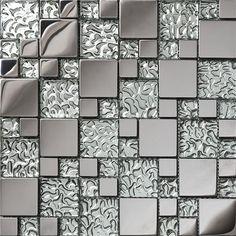 Cheap glass metal mosaic, Buy Quality metal mosaic directly from China glass mosaic Suppliers: High quality stainless steel metal mosaic glass tile kitchen backsplash bath shower background decor wall mosaic tiles,SA073-10