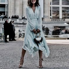 V-Neck Elegance  Style Vacation Dress