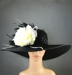 Derby Hat Dress Hat Tea Party Hat Church Kentucky Derby BLACK Womens Hat Wide Brim Bridal Wedding Tea Party Ascot Feathers on Etsy, $64.99