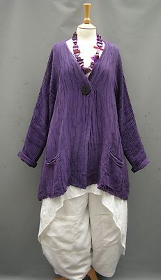 Grizas~ PURPLE~ Linen Silk Mix~ Swing Jacket~