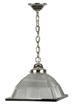 For Sale on - A pyramidal holophane glass pendant with diffuser on polished nickel fittings made in the Remains Lighting workshop. Due to the antique nature Industrial Chandelier, Chandelier Pendant Lights, Modern Chandelier, Chandeliers, Vintage Lanterns, Lighting Showroom, Diffused Light, Glass Texture, Glass Design