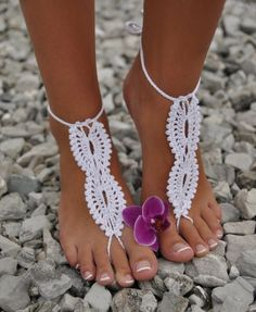 Barefoot Sandals Crochet Foot Jewelry Ankle Anklet White Cotton Bracelet Chain  #Unbranded