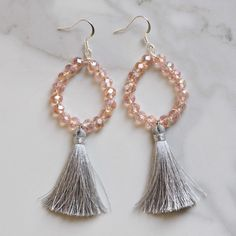 New gray silky tassel and pink crystal beaded earrings will be added to the shop today! Love the sparkle ✨