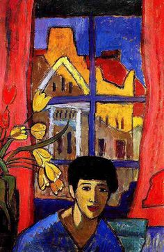 """Approaching, 1917  Gabriele Münter was one of the founders of """"Der Blaue Reiter""""  and very much part of the modern art movement in Münich  at the beginning of this century.   Her treatment of colour, line and space is characteristic for  German Expressionist artists."""