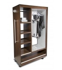 8476 - Rolling Wardrobe Rolling Wardrobe Walnut Veneer- Finish #150 Belliard Interior Hanging Area in White Lacquer With PU Top Coat Stainless Steel Handle and Accents Acrylic Finial Locking Castors
