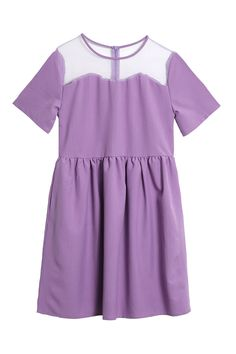 Sheer Scallop Panel Dress Lilac www.thewhitepepper.com/collections/dresses/products/sheer-scallop-panel-dress-lilac