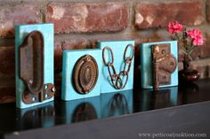 DIY Love Letters. created from reclaimed wood and junk hardware. on the blog