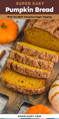 This Pumpkin Bread is quick and easy to make with the perfect pumpkin spice flavor and cinnamon sugar top. Easy Holiday Recipes, Fall Recipes, Holiday Foods, Bread Appetizers, Recipes Appetizers And Snacks, Quick Bread Recipes, Baking Recipes, Sicilian Recipes, Sicilian Food