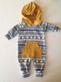 Navy and Mustard Hooded Baby Romper jumper outfit by Nooches