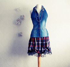 Women's Denim and plaid dress upcycle