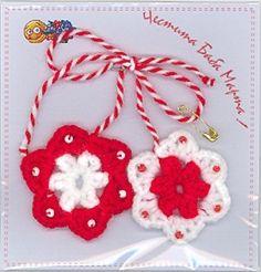 мартеници - Google Search Baba Marta, Activities For Kids, Christmas Ornaments, Holiday Decor, Crochet, Cards, Handmade, Google, Jewelry