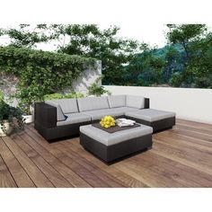 Have to have it. Sonax Park Terrace Textured Black Sectional Patio Set - 5 piece - $2249 @hayneedle