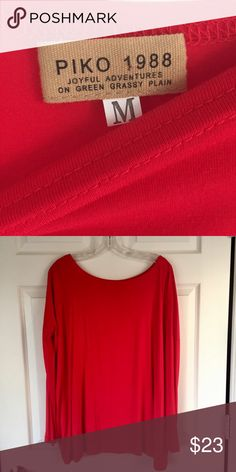 True Red Long Sleeve Piko Like new! Wore once during the holidays with patterned leggings! Great condition. Fall in love with Piko Tops! ❣️ PIKO Tops Blouses