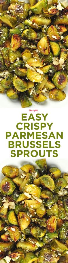 Quick and delicious, these Easy Crispy Parmesan Brussels Sprouts make a great finger food, snack, or side dish. Side Dish Recipes, Vegetable Recipes, Vegetarian Recipes, Dinner Recipes, Cooking Recipes, Healthy Recipes, Kebabs, Eat Smarter, Vegetable Side Dishes