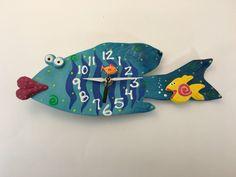 New to PondScumCeramics on Etsy: Kids Clock  Fish Clock  Wall Hanging Fish Clock Underwater Fish Room Decor Beach Theme Sea Life Art (40.00 USD)