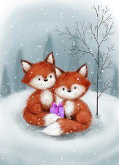 Christmas Paintings, Christmas Art, Beautiful Christmas, Vintage Christmas, Illustration Noel, Christmas Illustration, Illustrations, Canvas Artwork, Canvas Art Prints