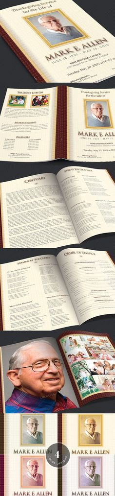 Leather Funeral Program Template 3 Wedding Fonts $1200 - funeral service program template word