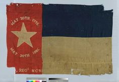 North Carolina Civil War Flag, 35th Regiment North Carolina Troops.  The 35th was organized at Camp Crabtree near Raleigh in 1861 and probably received this flag in early 1862. The flag is a North Carolina State flag and originally featured the unit's number designation, which was cut away, possibly as a souvenir. The dates on the flag represent the date of the Mecklenburg Declaration of Independence (May 20th, 1775) and the date of North Carolina's secession (May 20th, 1861).   The flag was…